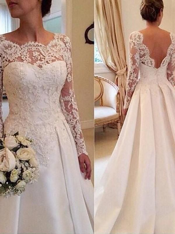 Beautiful Prom Dresses, Stylish Ball Gown Long Sleeves Lace Scoop Court Train Satin Wedding Dresses YB33PO514