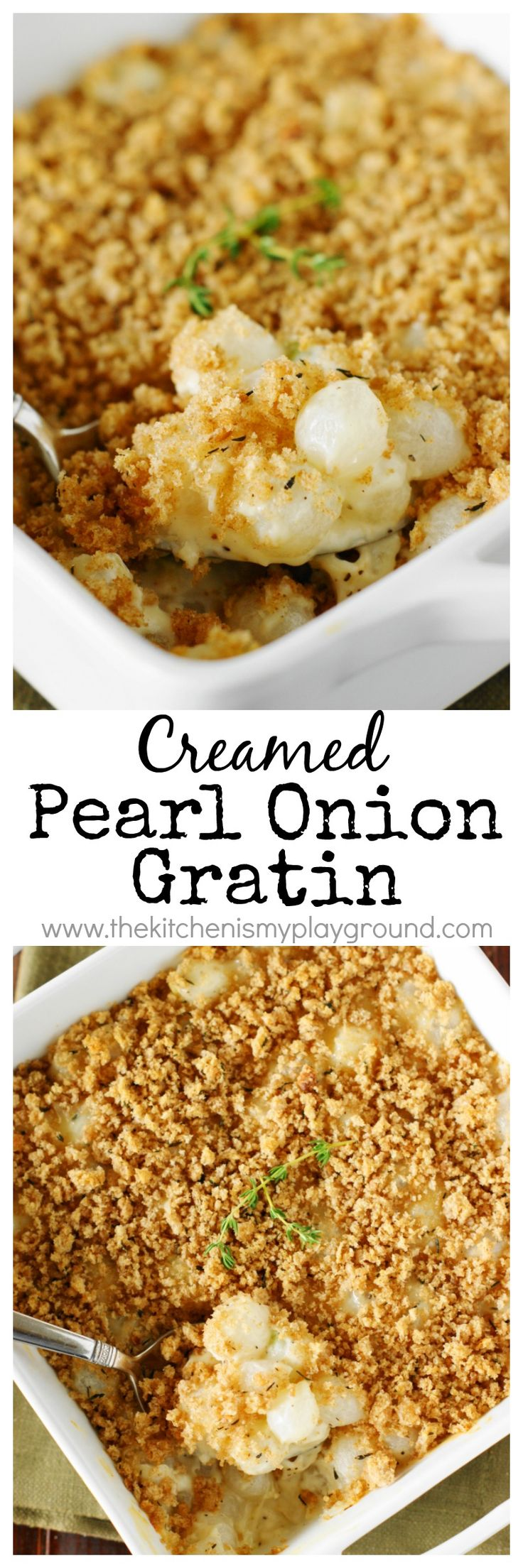 Pearl onions baked with creamy cheesy sauce, seasoned with fresh thyme ...