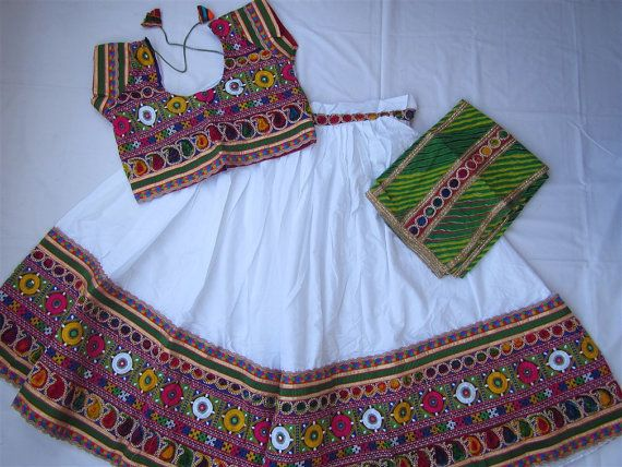 Navratri chaniya choli White colour with embroidery by mfussion