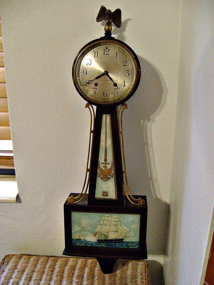 Seth Thomas Banjo Clock 2 Ca 1928 Eagle Anchor And