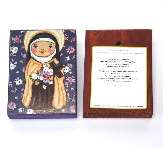 St Therese of Lisieux Wood block print Saint by UnderAngelWings