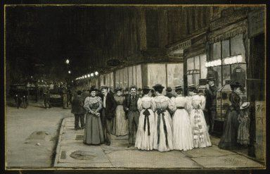 """American Artist: William Anderson Coffin, Realist painting of:  """"Saturday Night in August -- Eighth Avenue"""".  America's Gilded Age era, in NYC, c.1900. ~ {cwl} ~ (Image: Brooklyn Museum)"""