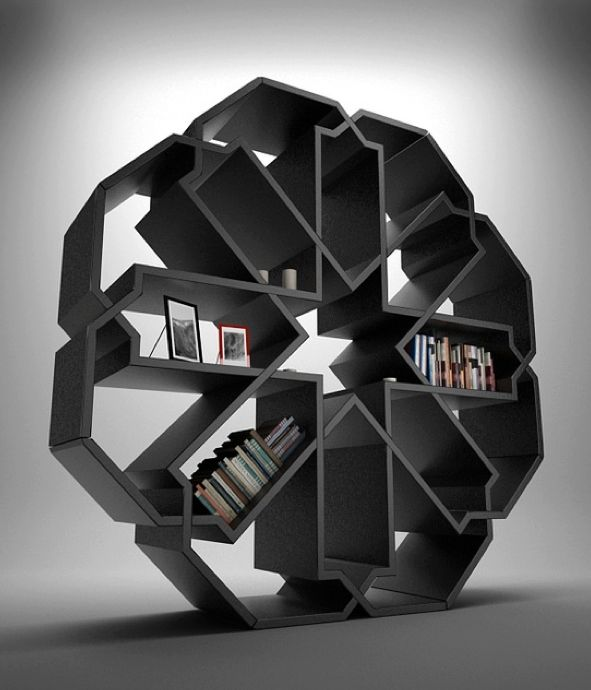Funky bookshelves could be a nice separator aside from walls Amazing statement bookcase inspired by Islamic geometric design.