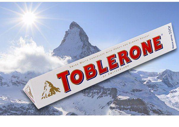 Toblerone (Таблерон, 100г) белый с нугой. В наличии 4 вкуса. Цена на сайте ChocoShop.com.ua