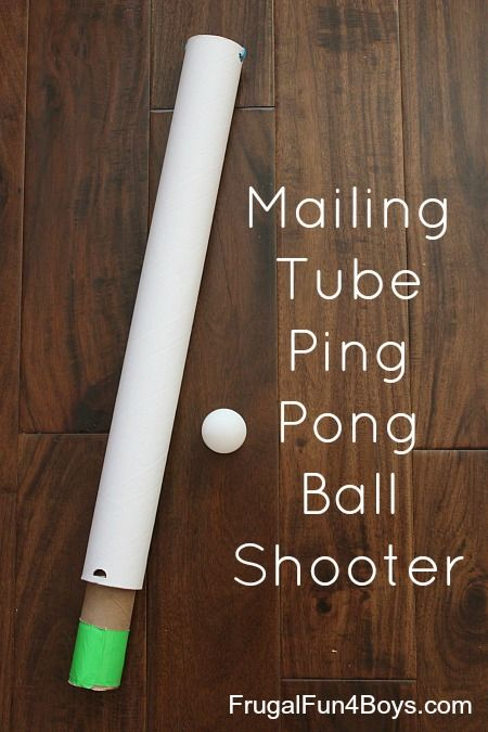 Shoot ping pong balls with this fun contraption made out of a mailing tube!