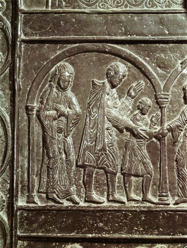 UNKNOWN MASTER, German, The Young St Adalbert and his Parents, 1110-50, Bronze; Cathedral, Gniezno