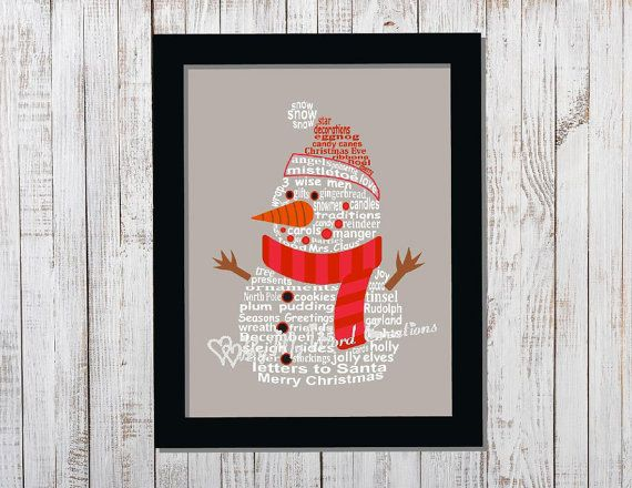 Snowman Word Art Christmas Decoration Word by ByMyWordCreations