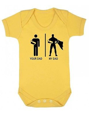 Your Dad My Dad New Baby grow Suit,infant Newborn Onesie unisex funny superman