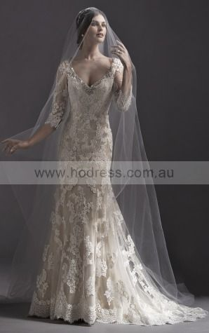 3/4-Length Sleeves Buttons Lace V-neck A-line Wedding Dresses gccf1002--Hodress