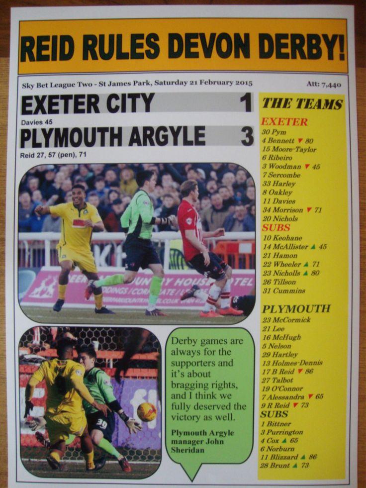 Exeter City 1 Plymouth Argyle 3 - 2015 - souvenir print by LilywhiteMultimedia on Etsy