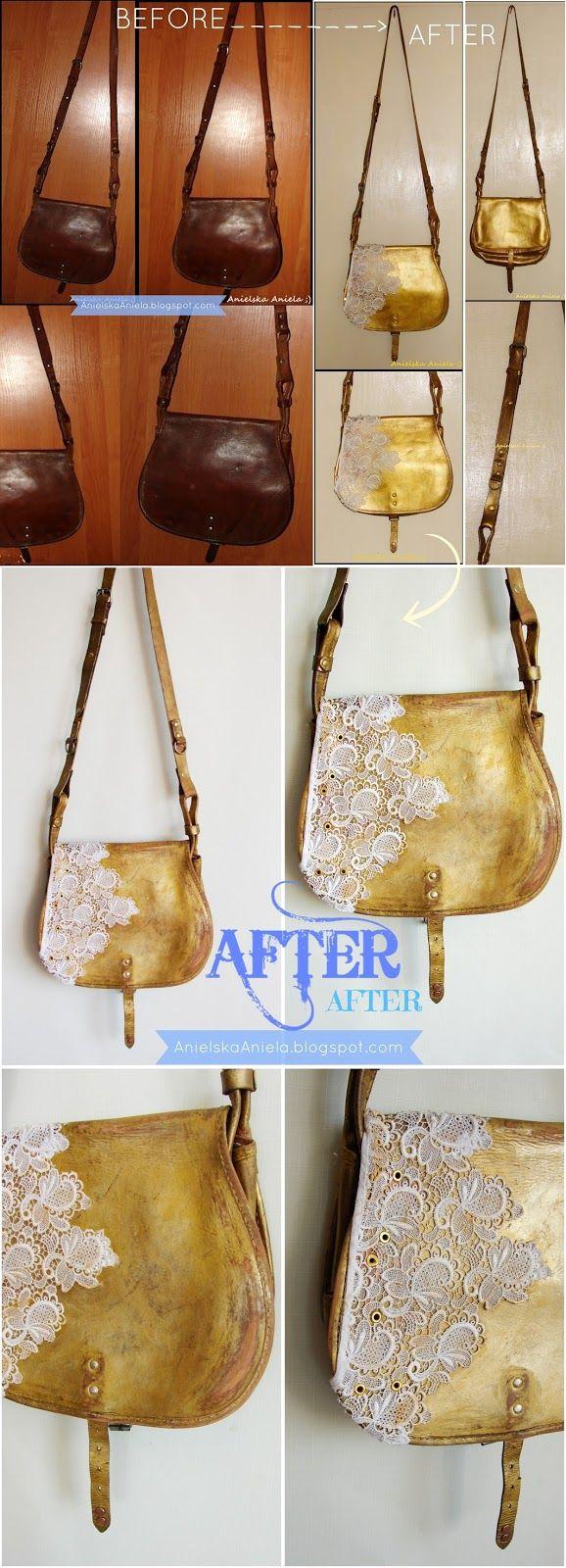 Diy tutorial refashion leather messenger bag Jak przerobić,odnowić i odświeżyć torebkę? Diy