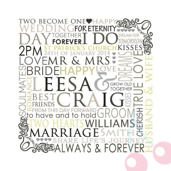 Our Wedding Day Personalised Custom Made Typography Print Bus Scroll Perfect for…