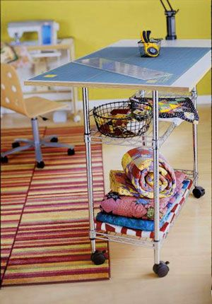 need something like th is as a cutting board, separate from the sewing desk.  Love this idea.: Cutting Tables, Cutting Board, Room Ideas, Craftroom, Sewing Rooms, Rolling Cart, Space, Sewing Table, Craft Rooms