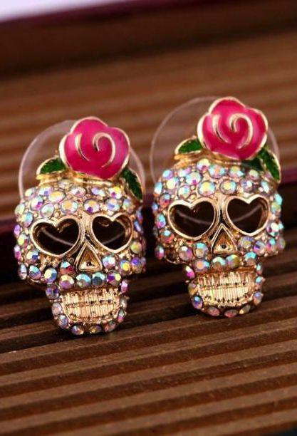 Cool Rose Skull Love Vintage Earrings