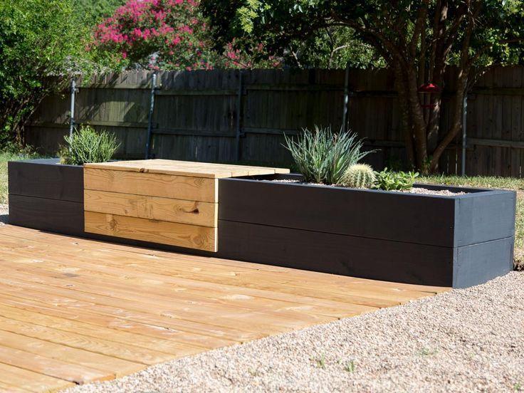 Machen Sie eine moderne Pflanzgefäß- und Sitzbankkombination Außenbereiche – Patio-Ideen, Decks & Ga