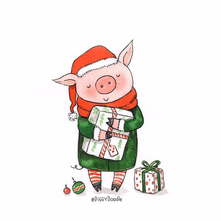 смешные рисунки с поросятами на новый год