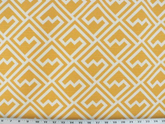 Yellow Geometric Fabric, Mustard Yellow Linen/Rustic Fabric, Designer Drapery/Upholstery/Home Decor Fabric (1) Yard 36'' Length, 56'' Width