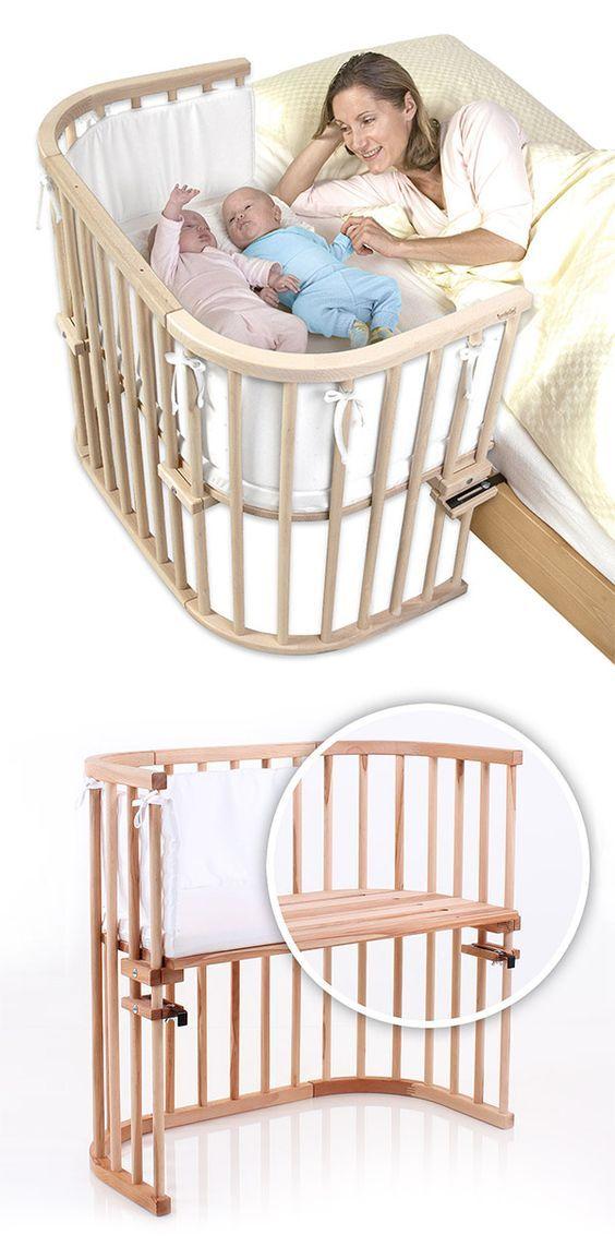 """Beistellbett """"BabyBay"""" Maxi ist auch für Zwillinge geeignet und wird direkt am Bettrahmen befestigt.   Betten.de #babyzimmer #babybett #holz http://www.betten.de/beistellbett-zwillinge-babybay-maxi.html"""