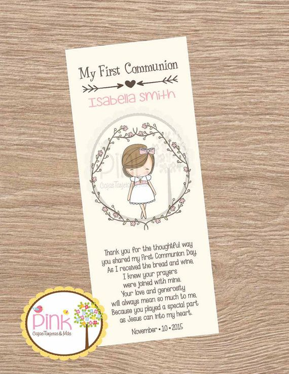 First Communion Favor Cards /Bookmark/ by PinkCajasyTarjetas