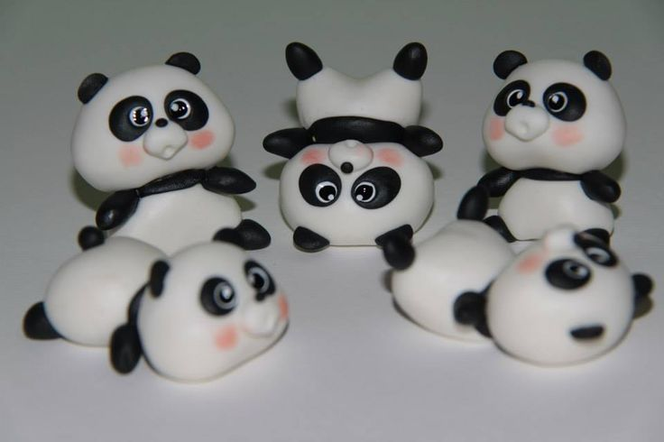 pandas, Polymer clay, porcelana fria, masa flexible, biscuit, pasta francesa, cold porcelain, fimo, salt dough