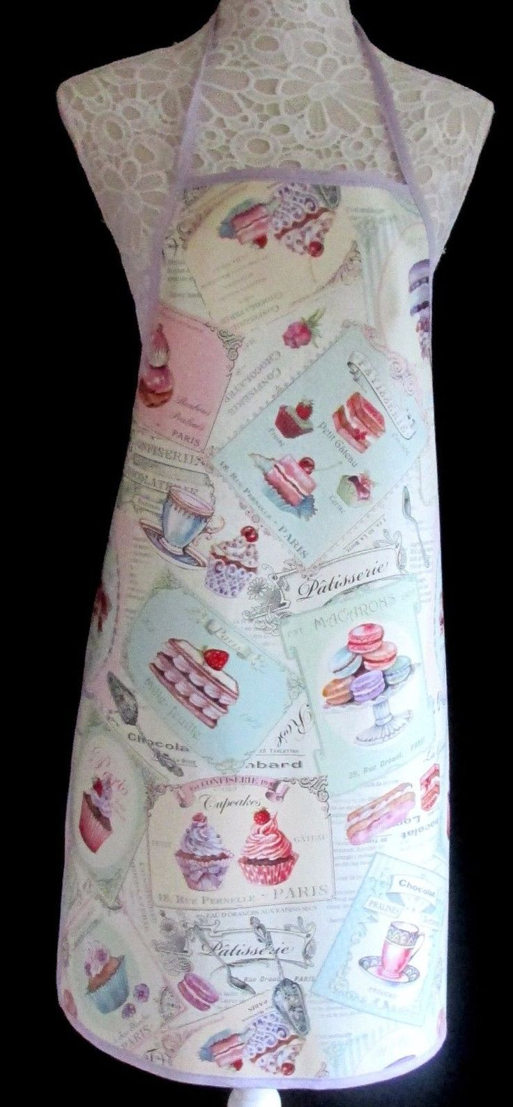 PATISSERIE DESIGN APRON / PINNY – PVC/OILCLOTH WIPECLEAN CRAFT COOKING BAKING | eBay