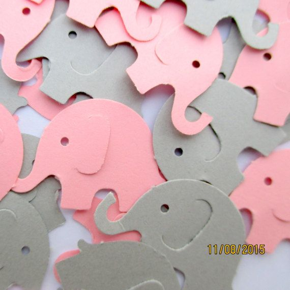 100 pink and gray elephant confetti baby girl shower for Baby confetti decoration