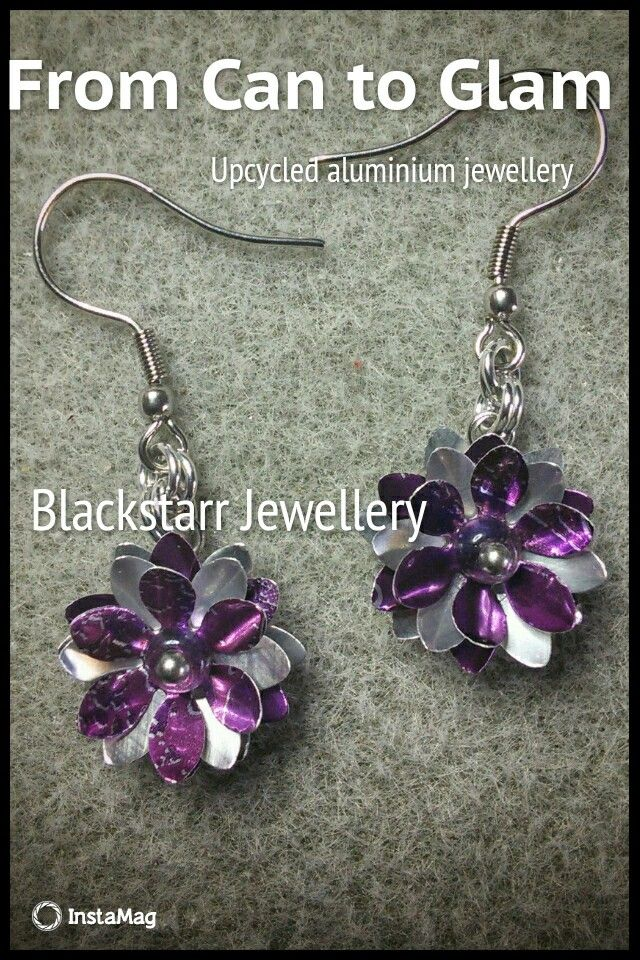 Another custom order ready to go to it's new home #upcycled #recycle #jewelry #jewellery #earrings #flower #purple #Blackstarr