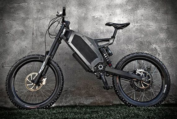 Stealth Electric Bikes has a top speed of up to 50mph, with a full 2-hour recharge giving it a distance up to 50 miles. A hybrid electric mountain bike, cool.