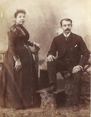 CABINET PHOTO HANDSOME GENTLEMAN THICK LONG MUSTACHE & WIFE IN BUSTLE DRESS