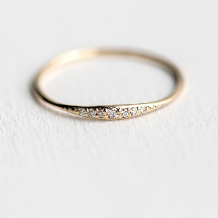 Diamond Tiny Line Band In Solid 14k Yellow Gold With A
