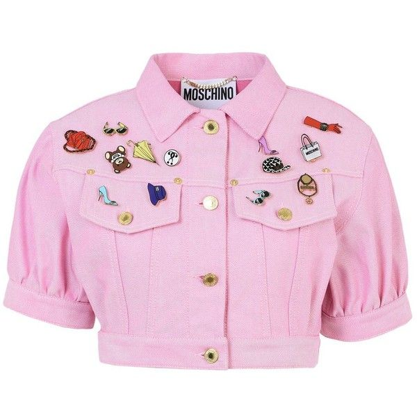 Moschino Blazer ($940) ❤ liked on Polyvore featuring outerwear, jackets, blazers, shirts, tops, crop top, pink, logo jackets, short-sleeve jackets and cropped jacket