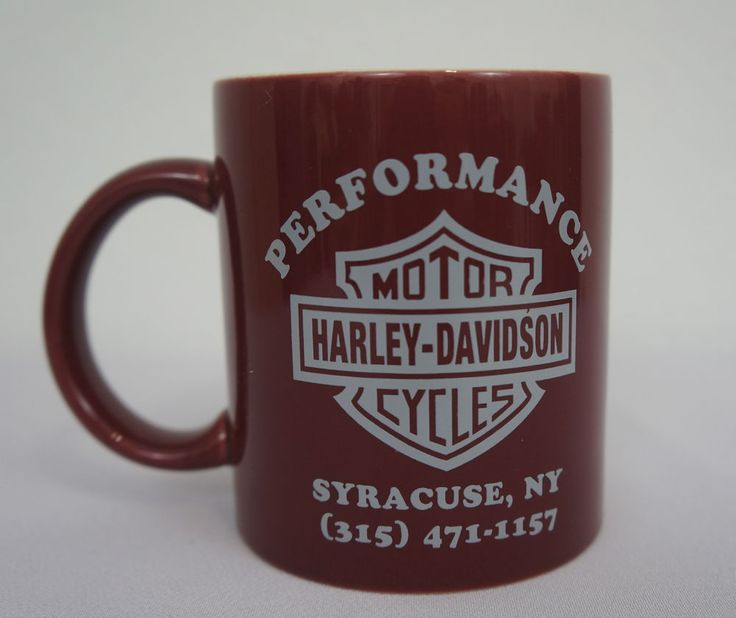 Performance Motor Harley Davidson Cycles Burgundy Coffee Cup Mug Syracuse Ny Pre Owned