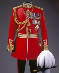 Uniform of a British Field Marshall, very similar to the uniform in 1893, when Utopia Limited was first produced.  King Paramount loved this uniform, though what he actually wore is often an adaptation of it, with a sash and different medals & patches.