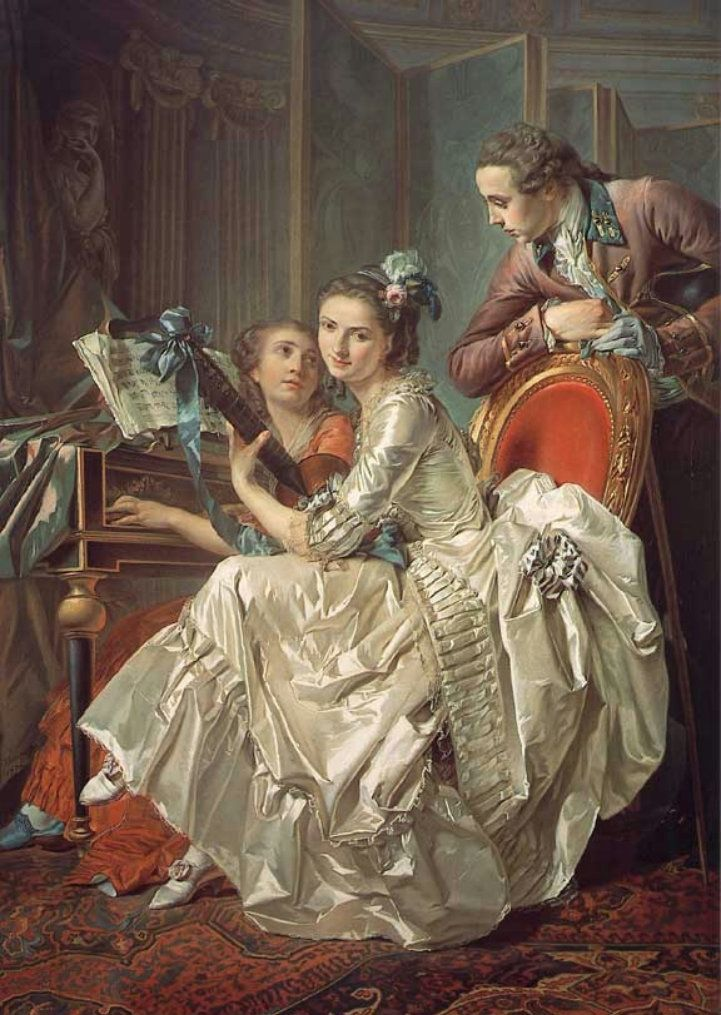 The Music Party (2nd half 18th C.). Louis Rolland Trinquesse (c.1745-1800). Oil on canvas. Alte Pinakothek. Trinquesse worked both as a portrait painter and a genre painter. His portraits are usually gentle and uncomplicated likenesses painted in pastel colours. When dealing with older male sitters, however, his style could be grander and more sober.