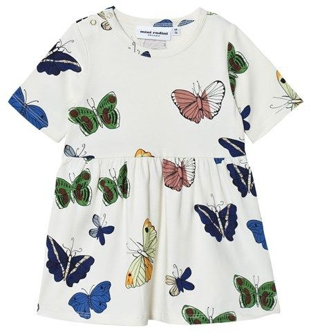 Mini Rodini Off-White Butterfly Print Dress