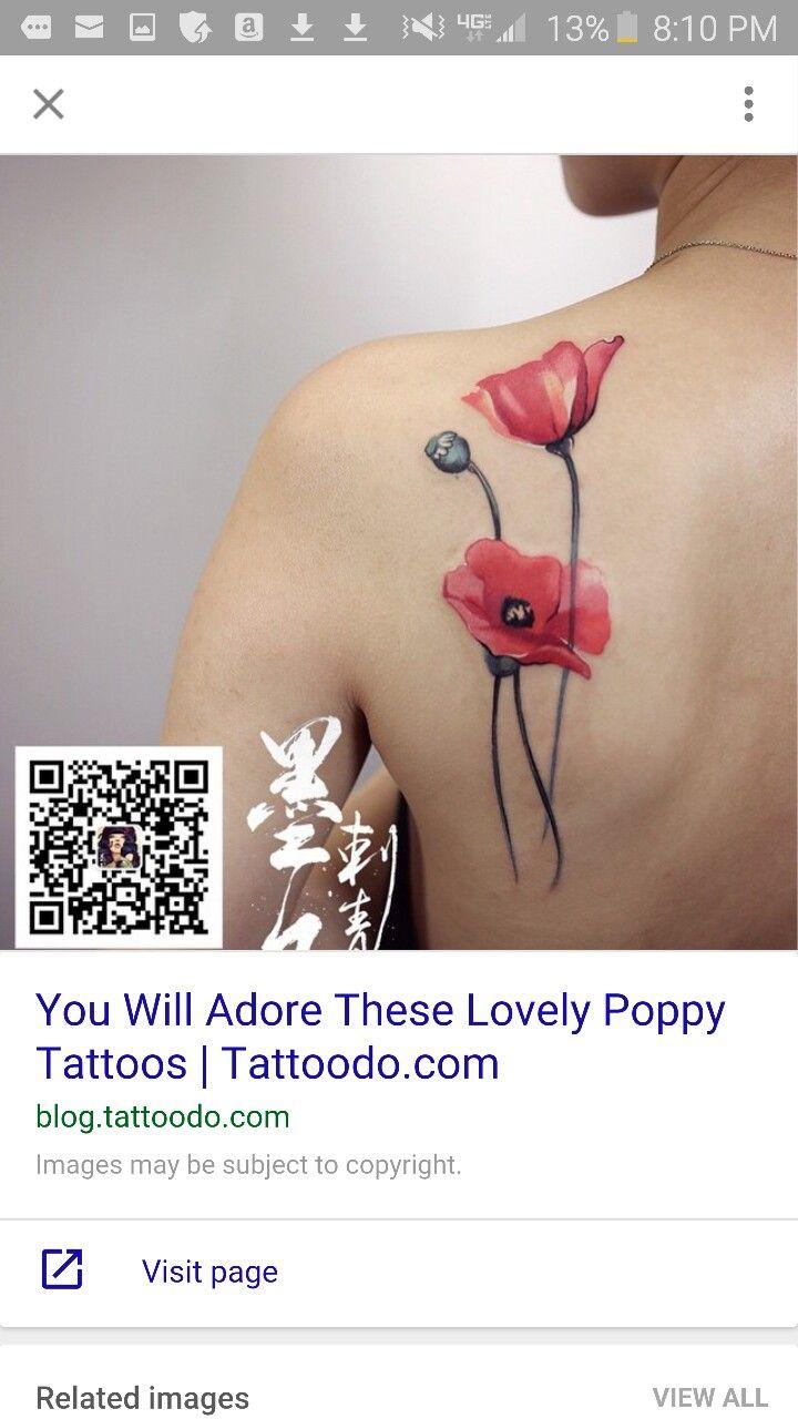 Poppy tattoo                                                                                                                                                                                 More