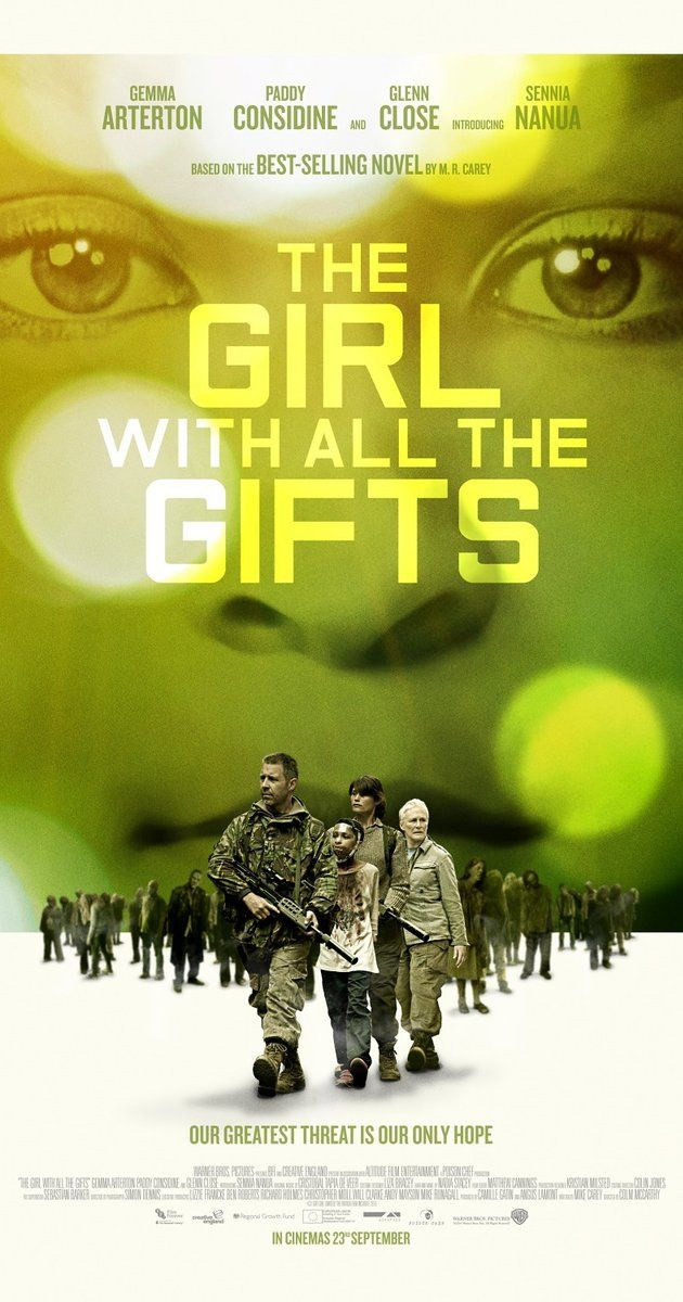 Directed by Colm McCarthy.  With Gemma Arterton, Glenn Close, Paddy Considine, Dominique Tipper. A scientist and a teacher living in a dystopian future embark on a journey of survival with a special young girl named Melanie.