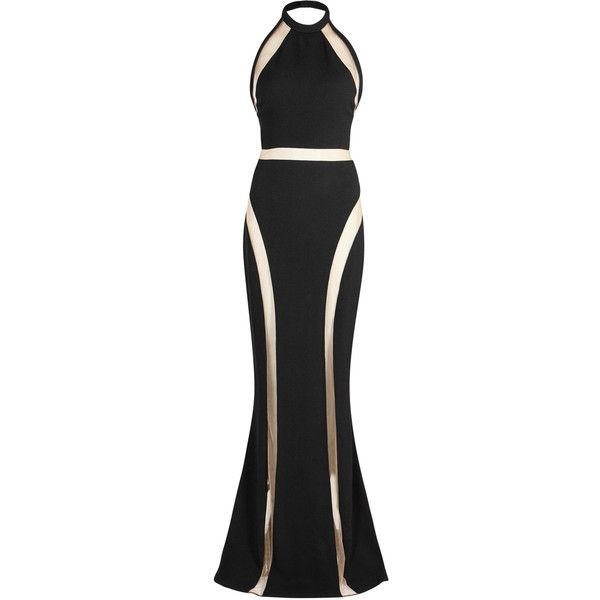 Balmain Black mesh-panelled gown (£3,360) ❤ liked on Polyvore featuring dresses, gowns, halter-neck dress, halter neck evening dress, mesh inset dress, halter evening gowns and halter dress
