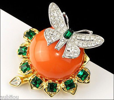 Kenneth Jay Lane Duchess of Windsor Butterfly Brooch Pin Gold Tone Faux Coral and Rhinestones
