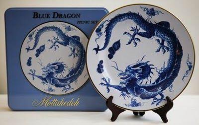 Mottahedeh Blue Dragon TIN picnic plates