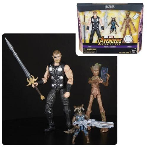 Rocket Raccoon e Groot Action Figure Avengers Infinity War Marvel Legends Thor