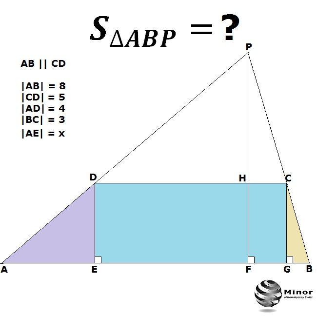 Area of a triangle ABP = ?  W trapezie ABCD podstawy mają długość 8  i 5. Punkt P jest punktem przecięcia się ramion trapezu o długości  4  i 3. Wyznacz pole trójkąta, którego wierzchołkiem jest punkt P, a podstawa trójkąta zawiera się w dłuższej podstawie AB trapezu.