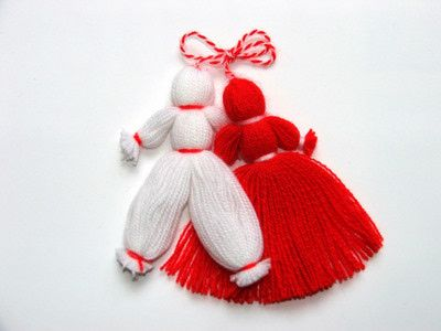The day of Baba Marta (Grandmother March) falls on the first of the month. On or before Baba Marta, Bulgarian people give each other martenitsa, or martenka, which are red and white tassels sold by vendors in shops and on the street or may be hand made. The colors of the martenitsa, whose symbolism comes from an old Bulgarian tale, represent blood and snow. v