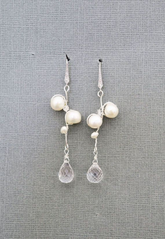 Freshwater Pearl Briolette Earrings Bridal Bridesmaid Jewelry #wedding #ivory #silver
