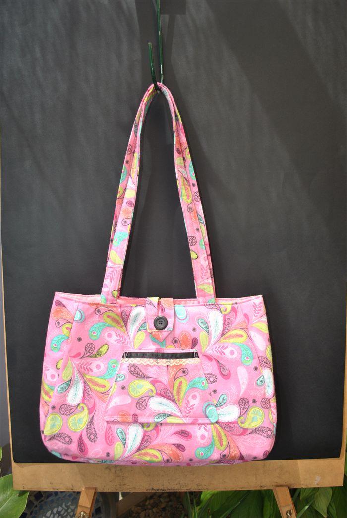 April - ladies large pink patterned handbag