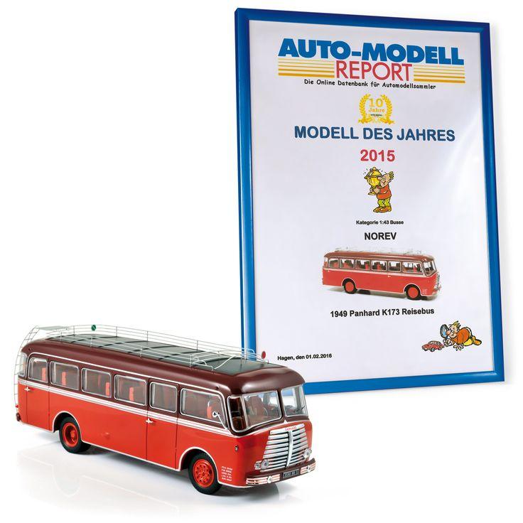"""NOREV has been rewarded for its 1949 'Panhard K 173' bus scale model by Auto-Modell Report / NOREV a été récompensé pour son modèle au 1:43 du bus """"Panhard K 173"""" de 1949 par Auto-Modell Report."""