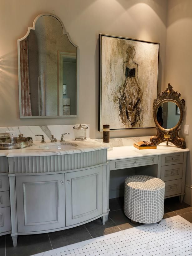 An Ornate Gold Mirror Complements The Larger Vanity In This French Country Bathroom Large Piece Of Art Completes Look