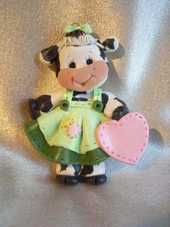 cow //  Found on etsy.com polymer clay personalized holstein cow Christmas ornament