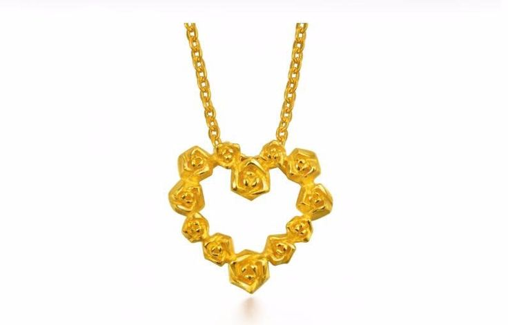 New  Authentic 999 24K Yellow Gold Heart Flower Pendant 3.26g