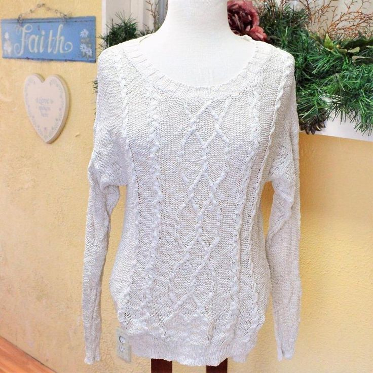Anthropology Staring At Stars M Women Sweater Off White Cable Knit LS Open Weave #StaringatStars #ShallowScoopNeck #Casual